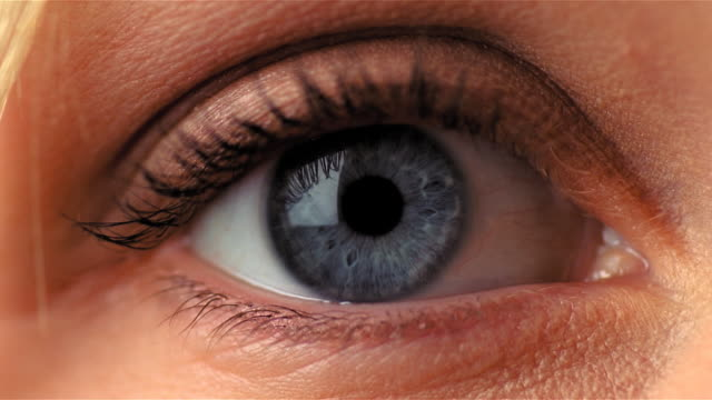 closeup of blue eye blinking - mpeg video format stock videos & royalty-free footage