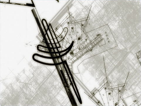 Close-up of blueprints in motion