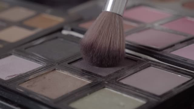 close-up of blush brush on make-up pallet - make up stock videos & royalty-free footage