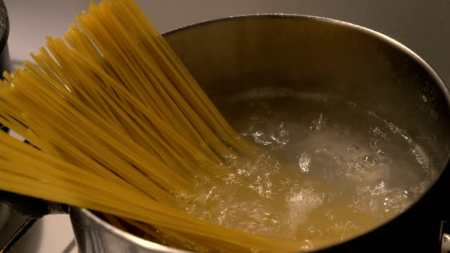 close-up of boiling spaghetti - linguini stock videos and b-roll footage