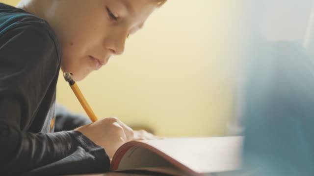Close-up of boy (10-11) doing homework at desk