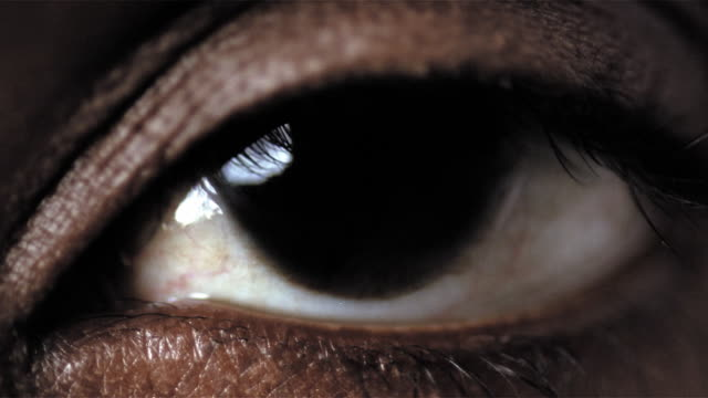 Closeup of brown eye blinking