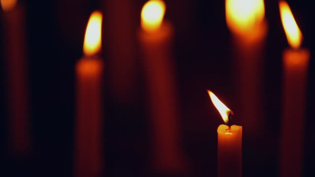close-up of burning candles, delhi, india - large group of objects stock videos & royalty-free footage