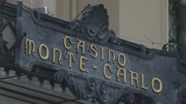 close-up of casino de monte-carlo sign at casino entrance - casino sign stock videos & royalty-free footage