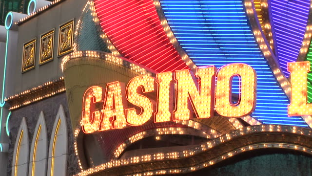 close-up of casino lisboa in macau china - casino sign stock videos & royalty-free footage