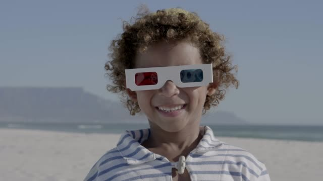 close-up of cheerful boy wearing 3-d glasses - 3d glasses stock videos & royalty-free footage