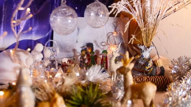 close-up of christmas crib. - christmas wrapping paper stock videos & royalty-free footage