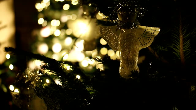close-up of christmas tree. - ornament stock videos and b-roll footage
