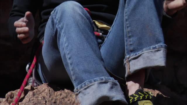 CU TU TD Closeup of climber feeling her / Colorado Springs/ Pikes Peak,CO,USA