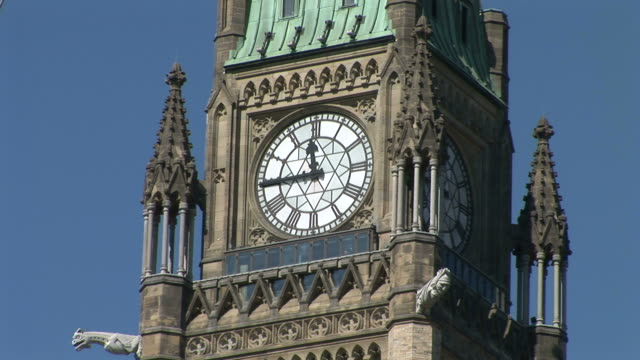 close-up of clock in peace tower of parliament hill ottawa canada - parliament hill stock videos & royalty-free footage