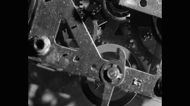 close-up of clock machine part - wheel stock videos & royalty-free footage