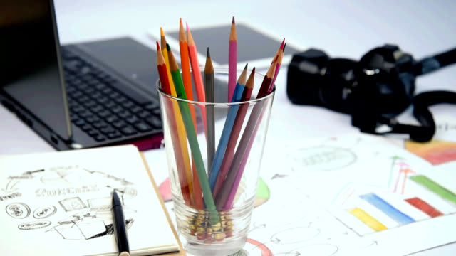 closeup of color pencil in glass & mind mapping illustration, equipment at office desk - colored pencil stock videos and b-roll footage