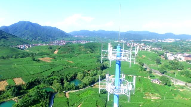 Nahaufnahme einer Mitteilung Turm in Teeplantage in Hangzhou Longjing Hill