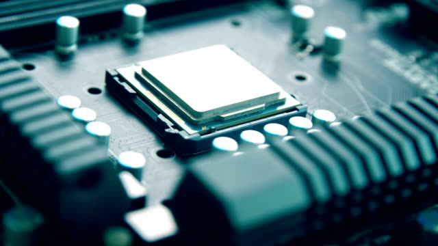 close-up of cpu on electronic circuit board - plank stock videos & royalty-free footage