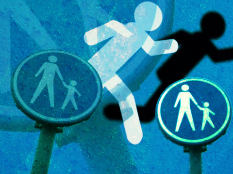 close-up of crossing signs with a cutout of a man walking - male likeness stock videos & royalty-free footage