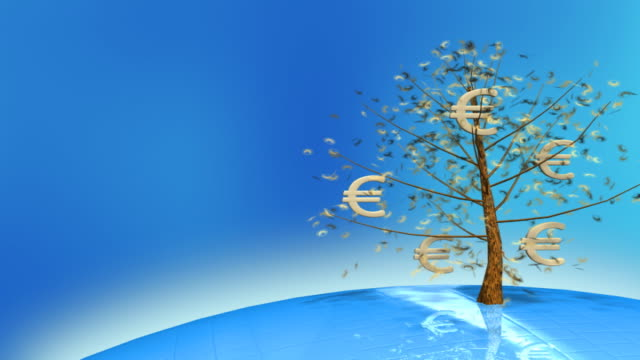 close-up of currency symbols on trees - money makes the world go around stock videos and b-roll footage