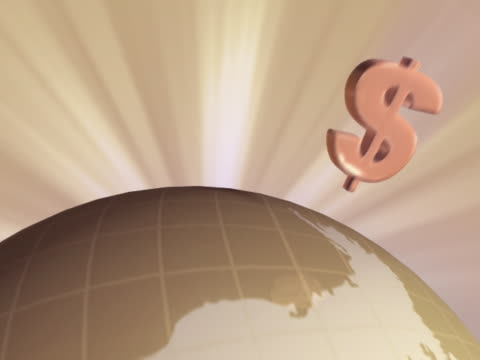 close-up of dollar signs emitting from a globe - emitting stock videos & royalty-free footage