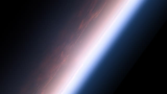 Close-up of Earth's atmosphere glowing pink as if seen from space