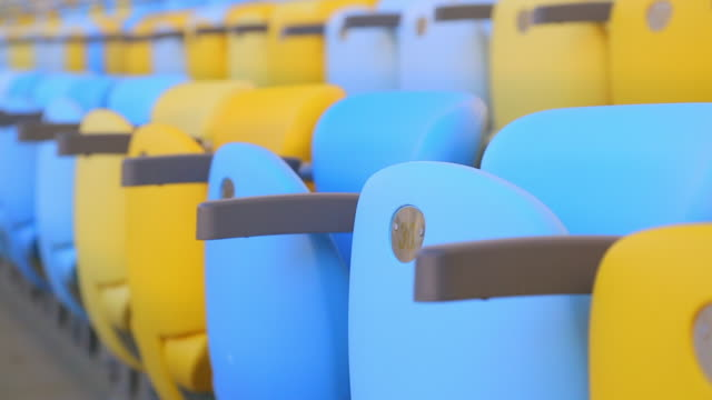 close-up of empty maracana stadium seats - chairs in a row stock videos & royalty-free footage