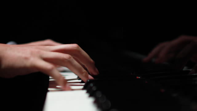 4K Close-up of Female Hands Playing Piano
