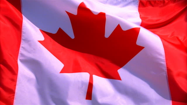 Closeup of flag of Canada waving in wind