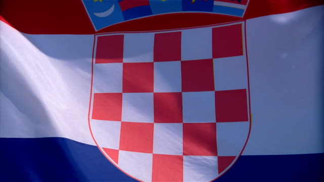 Closeup of flag of Croatia waving in wind