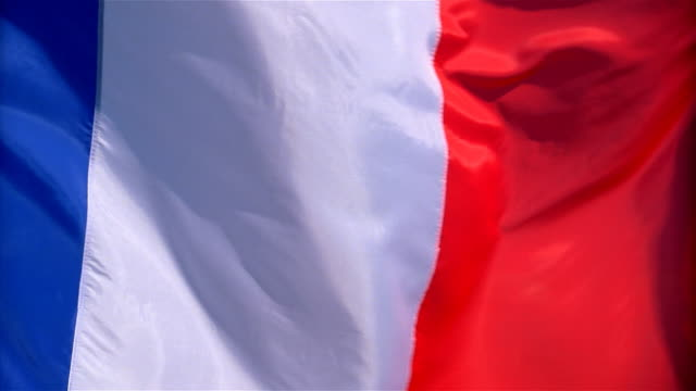 Closeup of flag of France waving in wind