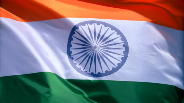 closeup of flag of india waving in wind - indian flag stock videos & royalty-free footage