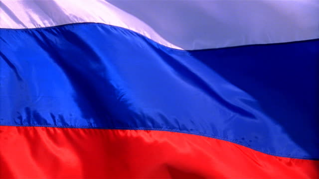closeup of flag of the russia waving in wind - russian flag stock videos & royalty-free footage