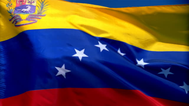 Closeup of flag of the Venezuela waving in wind