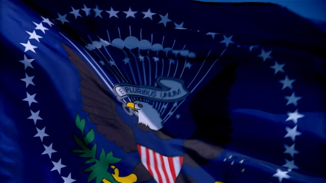 closeup of flag of united states president waving in wind - mpeg video format stock videos & royalty-free footage