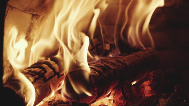 Close-Up Of Flames In Fireplace