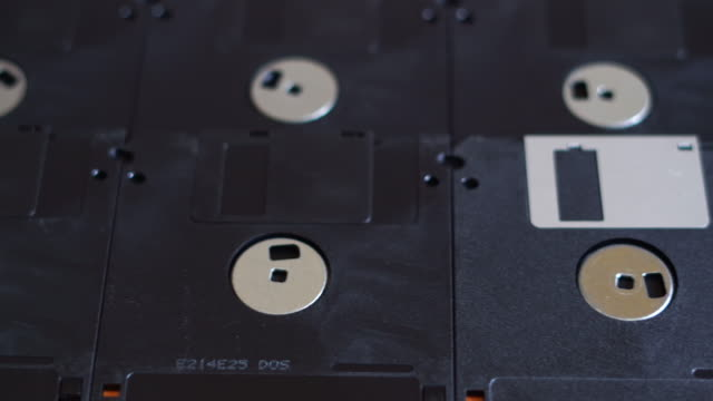 close-up of floppy discs - disk stock videos and b-roll footage