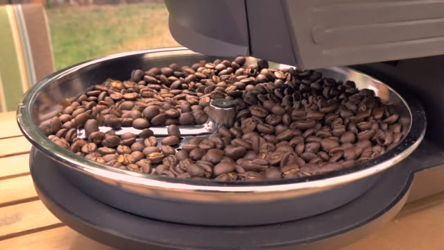 Closeup of Freshly Roasted Coffee Beans Cooling Down
