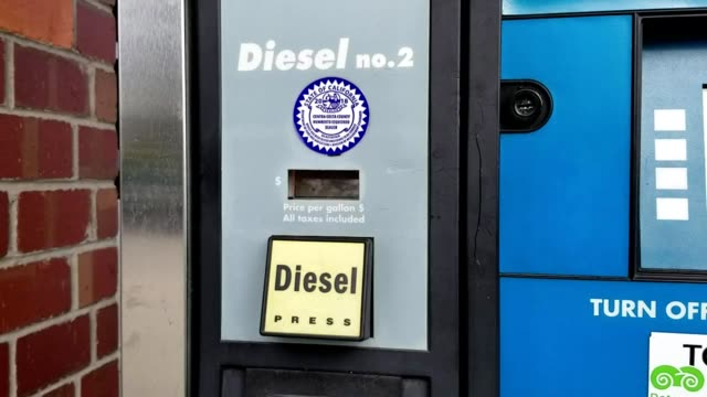 Closeup of fuel pump advertising diesel fuel in San Ramon California with California state seal visible February 20 2019