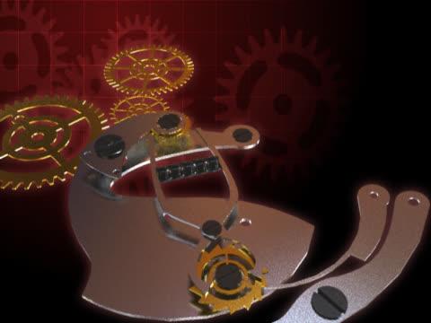 vídeos de stock e filmes b-roll de close-up of gears of a clock spinning - movimento perpétuo