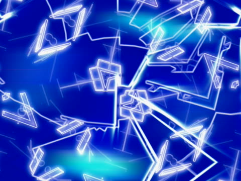vídeos de stock e filmes b-roll de close-up of geometric shapes spinning on a blue background - escrita ocidental