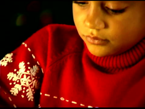 close-up of girl coloring for christmas - see other clips from this shoot 1407 stock videos and b-roll footage