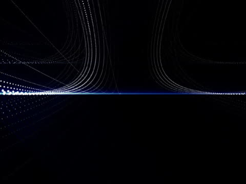 Close-up of glowing circles and lines on a black background