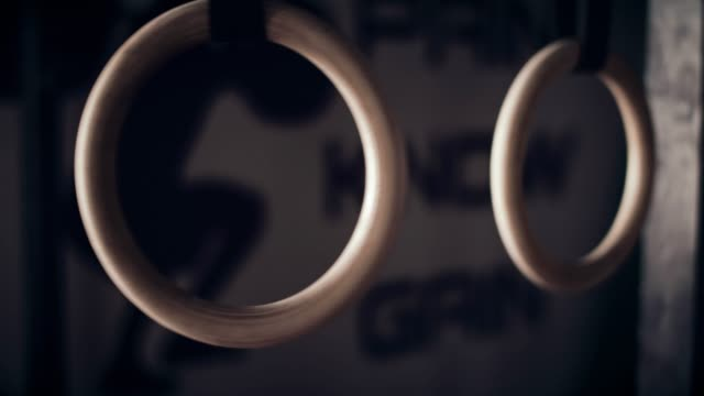close-up of gym rings - gymnastic rings stock videos & royalty-free footage