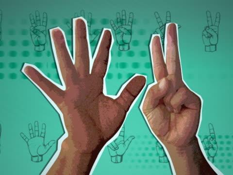 close-up of human hands gesturing a countdown - okänt kön bildbanksvideor och videomaterial från bakom kulisserna