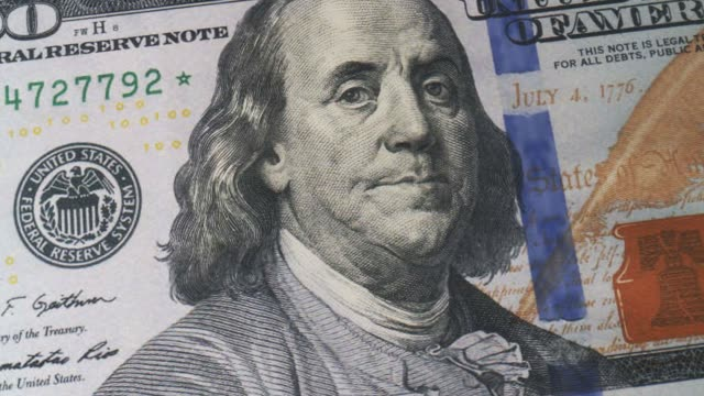 close-up of hundred dollar bills. paper money close-up. background with money american hundred dollar bills, 3d rendering. bill, investment. - number 100 stock videos & royalty-free footage