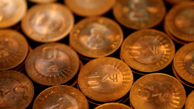 close-up of indian coins - coin stock videos & royalty-free footage