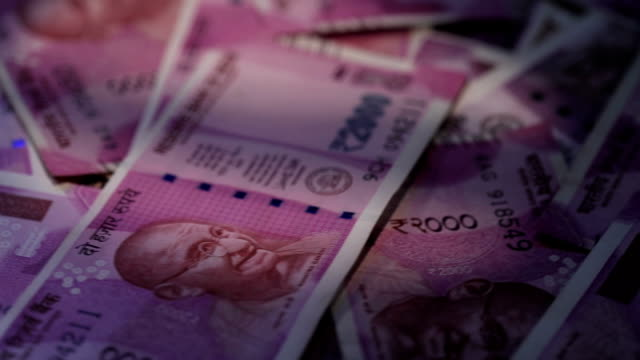 Close-up of indian two thousand banknotes