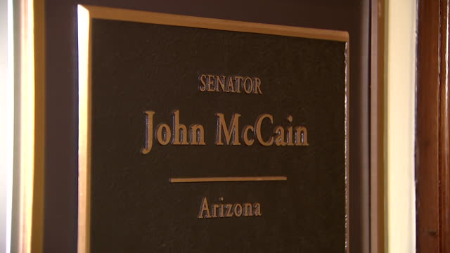 close-up of john mccainõs name plaque outside of his office at the russell senate office building in washington d.c. on august 26, 2018. - john mccain stock videos & royalty-free footage