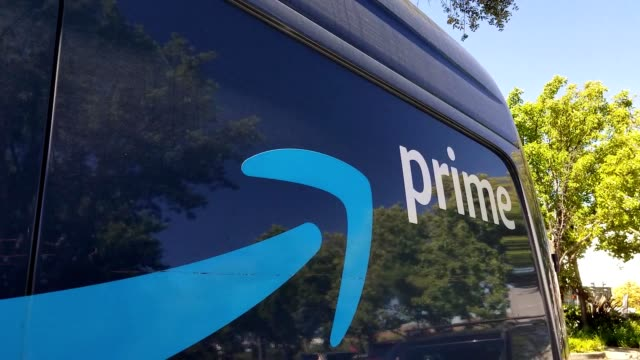 close-up of logo for amazon prime on the side of a delivery truck outdoors on a sunny day in san ramon, california, july 12, 2019. - logo stock videos & royalty-free footage