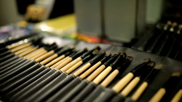 closeup of makeup tools in their holder - blusher make up stock videos and b-roll footage