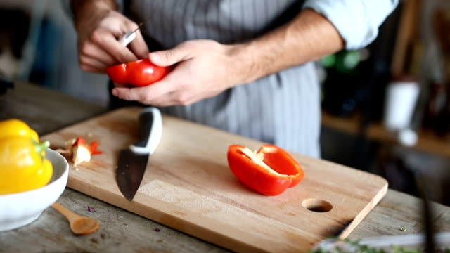 close-up of man clean and chopped bell pepper - bell pepper stock videos & royalty-free footage