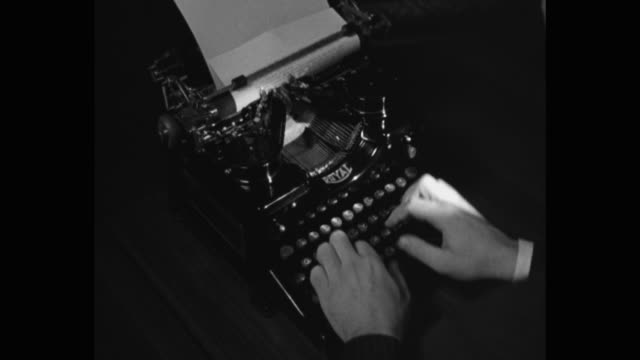 close-up of man's hands typing on typewriter in office - archival stock videos & royalty-free footage