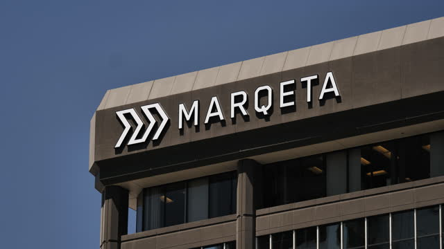 close-up of marqeta inc. signage on headquarter building in oakland, california, u.s., on wednesday, may 19, 2021. digital payments firm marqeta inc.... - electronic banking stock videos & royalty-free footage